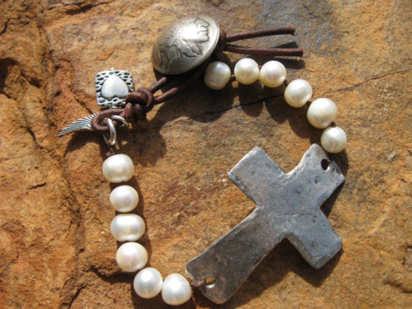 jewels pearl and leather cross bracelet cross and pearl bracelet