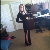 dress,black long dress with slitt