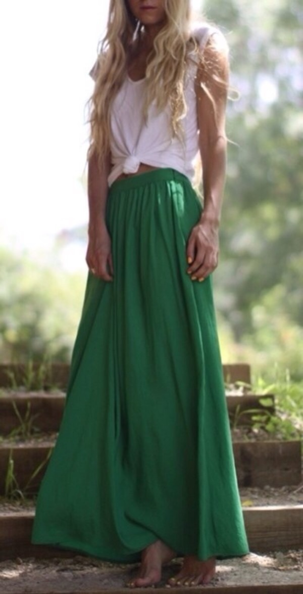 Skirt: green maxi skirt, maxi skirt - Wheretoget
