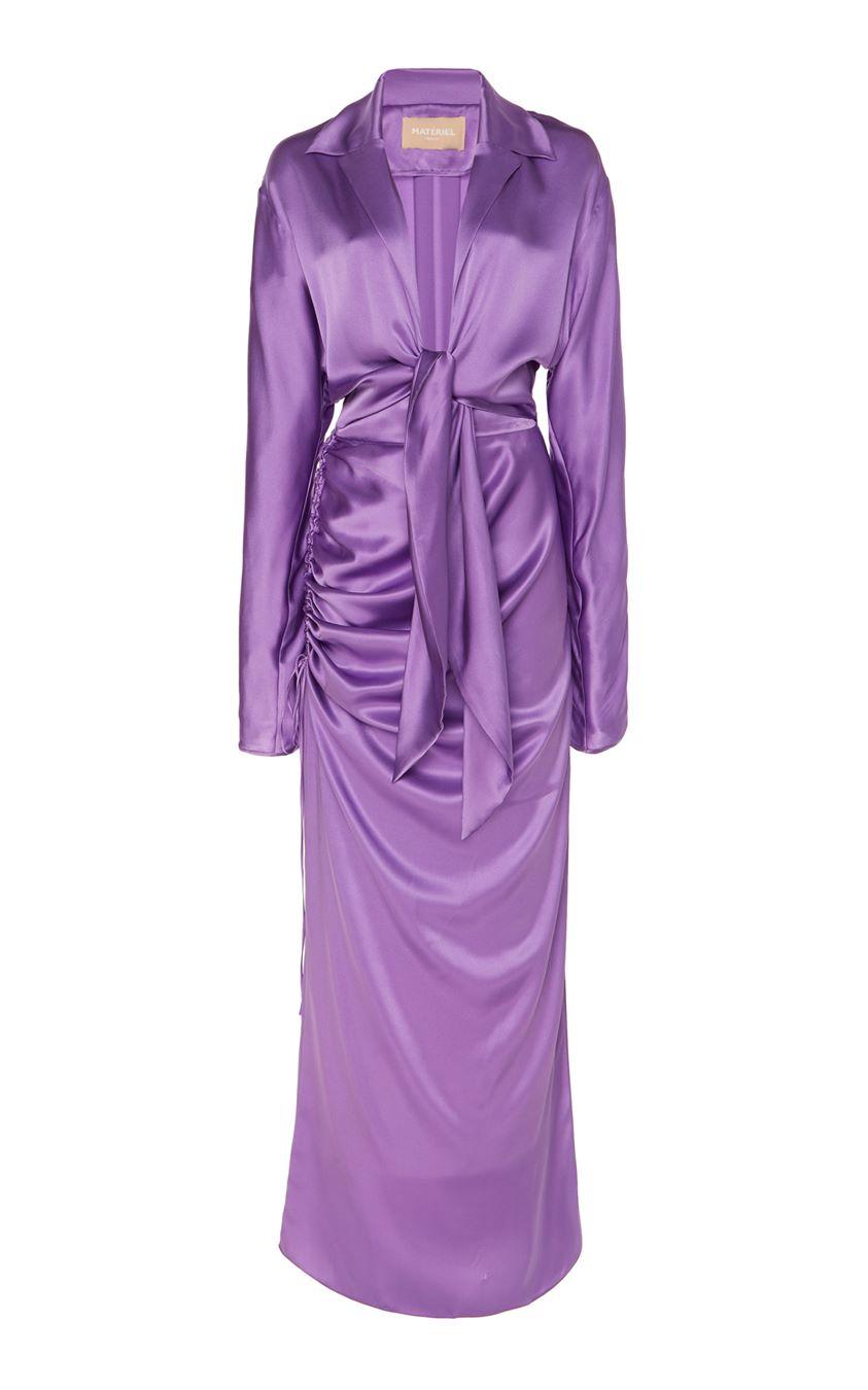 MATÉRIEL Front Tie Two Piece Silk Dress Size: 36