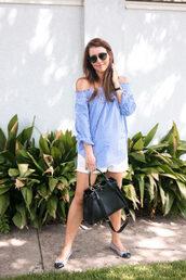 dallas wardrobe // fashion & lifestyle blog // dallas - fashion & lifestyle blog,blogger,blouse,shorts,bag,sunglasses,blue top,black bag,ballet flats,white shorts,summer outfits