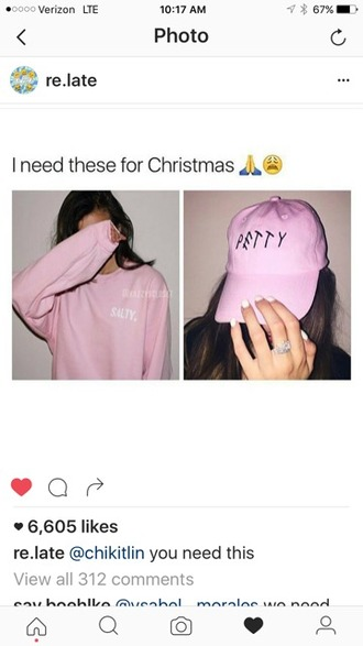 sweater pink light pink tumblr salty petty cute baseball cap oversized instagram