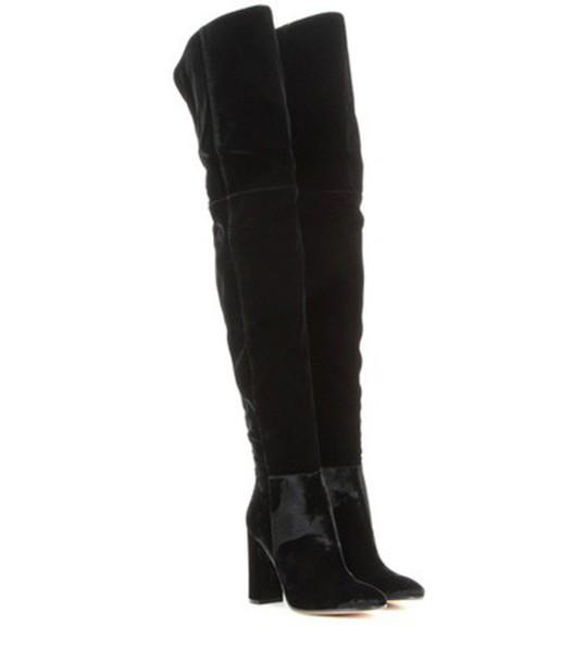 boots velvet black shoes