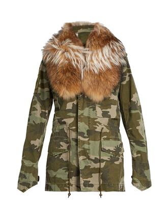 parka fur camouflage print khaki coat