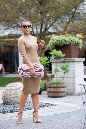 fashionably lo blogger dress shoes bag sunglasses all nude everything long sleeve dress