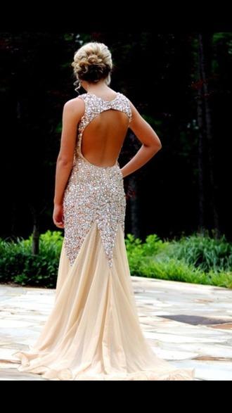 dress prom dress gold sequins open back dress