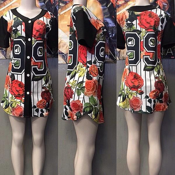 Dress baseball jersey baseball jersey dress floral for Baseball jersey shirt dress