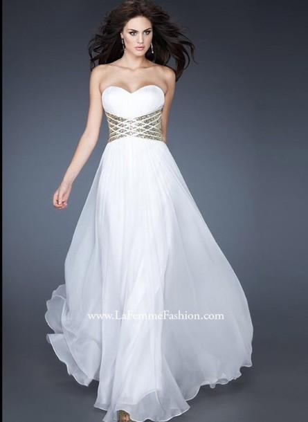 dress gold rhinestone waist white dress