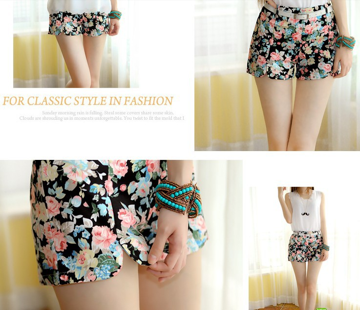 free shipping new retro black floral print large shorts, slit Pants side women girl high Elastic waist shorts pants-in Shorts from Apparel & Accessories on Aliexpress.com