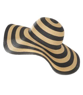 Black wide stripe straw floppy hat