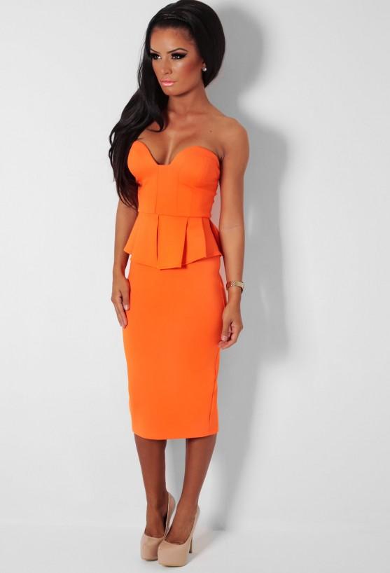 Sunset strip orange strapless peplum layer midi dress