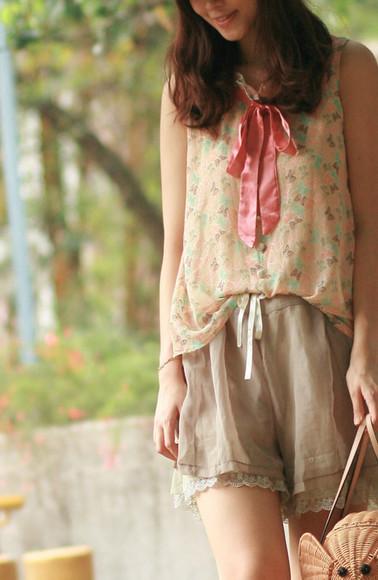 mellow mayoness ribbon pink blouse brown blouse blue blouse