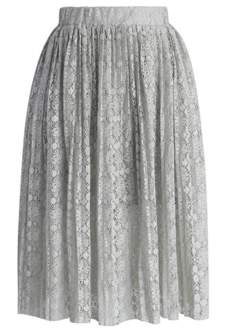 skirt chicwish pleated skirt lace skirt grey skirt chicwish.com