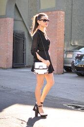 hapa time,blogger,top,bag,sunglasses,blouse,earrings,skater skirt,skirt,shoes,jewels,bachelorette party outfits,party outfits,white bag,shoulder bag,mini skirt,black skirt,sandals