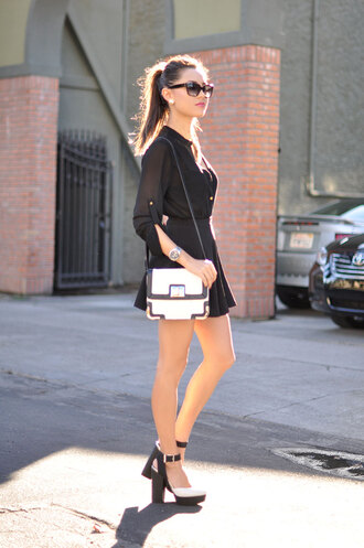 hapa time blogger top bag sunglasses blouse earrings skater skirt skirt shoes jewels bachelorette party outfits party outfits white bag shoulder bag mini skirt black skirt sandals