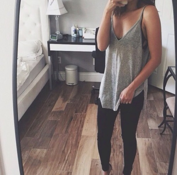 tank top comfy streetwear blouse tank top vest tumbr top grey grey top long tops long shirt