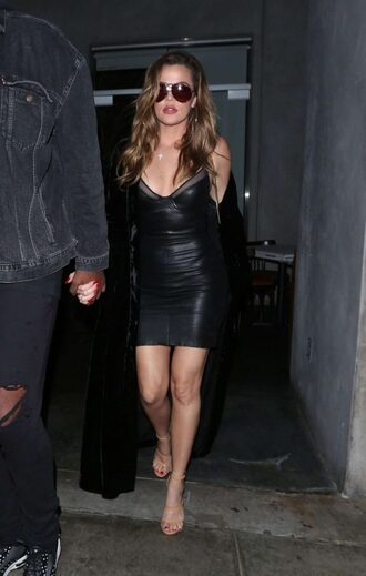dress black dress mini dress khloe kardashian sandals shoes high heels