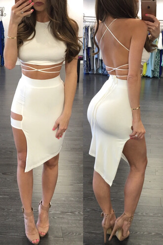 dress halter top high low dress pencil skirt cut-out white