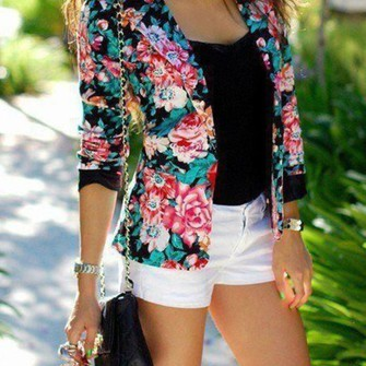 Shirt shirt black white chanel flowers blouse cute shorts white shorts