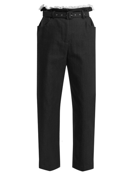 ISA ARFEN cropped cotton navy pants
