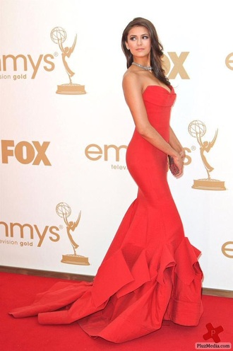 dress nina dobrev red dress red prom dress red red carpet dress emmys