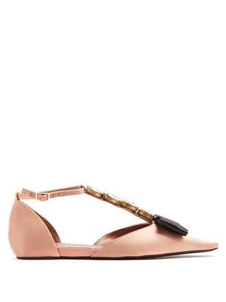 embellished flats satin pink shoes