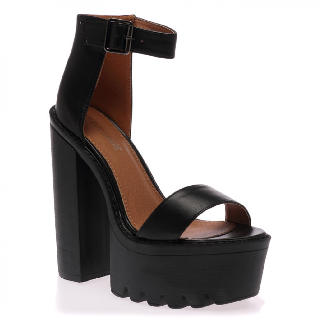 Jessi black cleated sole platform shoes