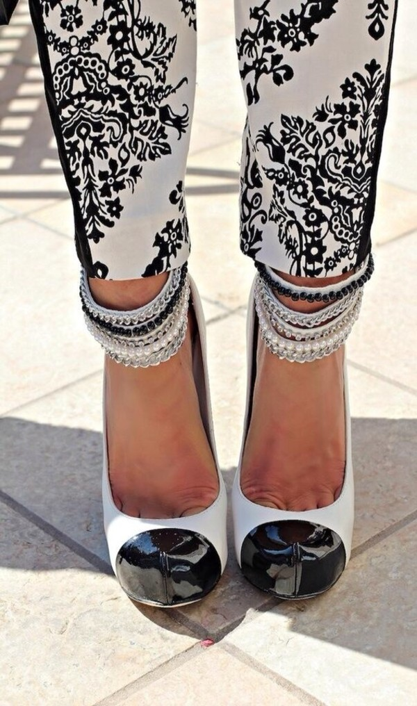 shoes black and white high heels pants