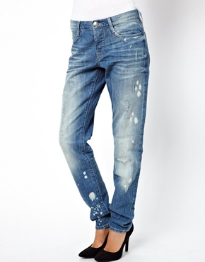ASOS | ASOS Brady Slim Boyfriend Jeans in Rip & Repair Vintage Wash at ASOS