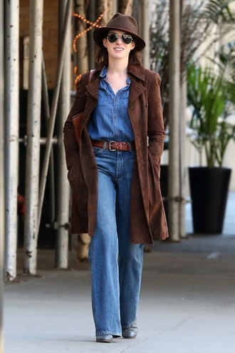 coat jeans flare jeans denim anne hathaway