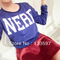 Fashion nerd letter print hip hop cropped tops womens long sleeve fluffy sweater blouse for free shipping