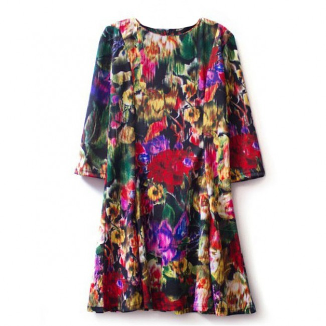 Blurred floral print dress