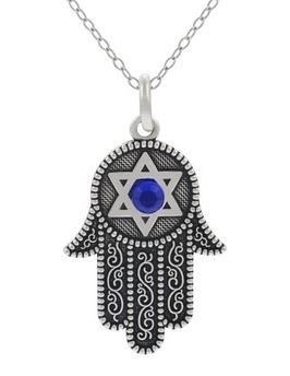 Silver Tone HAMSA Hand Star Necklace