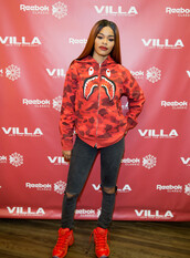 sweater,teyana taylor,hoodie,sweatshirt,jacket,sneakers,jeans,red,bape,black girls killin it,dope,ripped jeans,jordans