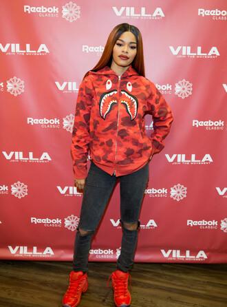 sweater teyana taylor hoodie sweatshirt jacket sneakers jeans red bape black girls killin it dope ripped jeans jordans