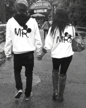 sweater,mr.,mrs.,minnie mouse jacket,mickie mouse jacket,disney,white,black,logo,jacket,blouse,mrs,mr,mickey mouse,hoodie,sweatshirt,hipster,couple,shirt,black mrs mr mickey mouse minnie sweater,cute,matching couples,couplesjacket,minnie and mickey,disney sweater,couple sweaters,minnie mouse,love,mr and mrs,cute sweaters,white sweater,mickey mouse sweater,black letters,bag,tumblr,dsney,jumped