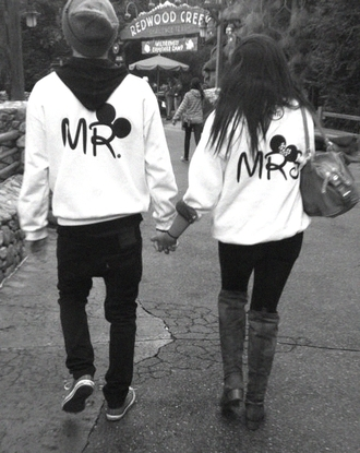 sweater mr. mrs. minnie mouse jacket mickie mouse jacket disney white black logo jacket blouse mrs mr mickey mouse hoodie sweatshirt hipster couple shirt black mrs mr mickey mouse minnie sweater cute matching couples couplesjacket minnie and mickey disney sweater couple sweaters minnie mouse love mr and mrs cute sweaters white sweater mickey mouse sweater black letters bag tumblr dsney jumped disneyland disneyworld mr and mrs sweatshirts