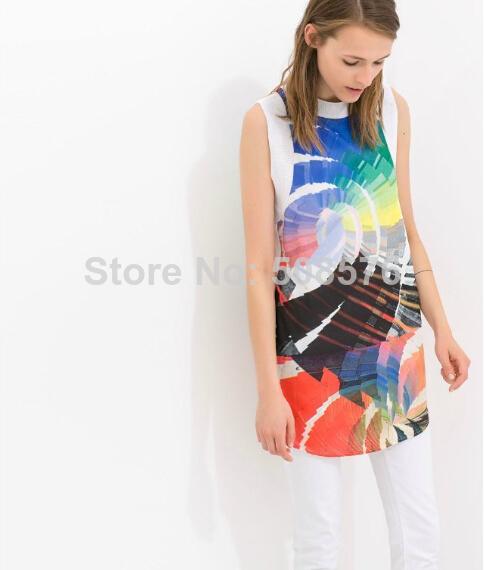 New Fashion Ladies' elegant colored painting print Dress O neck sleeveless causal slim evening party brand designer dress | Amazing Shoes UK
