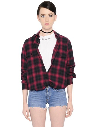 shirt plaid oversized cotton black top