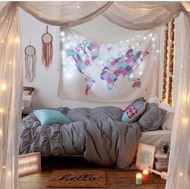 home accessory boho map print bedding home decor bedroom bedsheets tapestry dorm tapestry globe wall tapestry light room bed pink blue - Bedroom Tapestry
