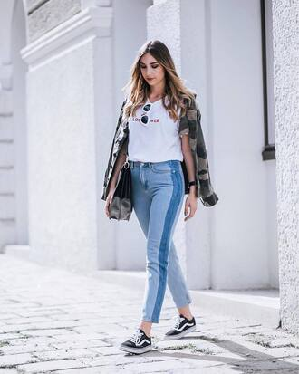 t-shirt tumblr quote on it white t-shirt denim jeans blue jeans sneakers black sneakers low top sneakers vans bag shoes jacket