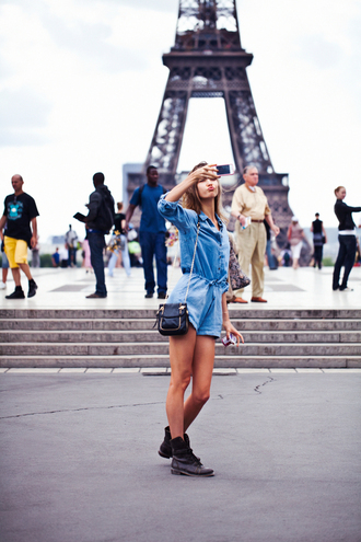 romper blue t-shirt blue shorts eiffel tower