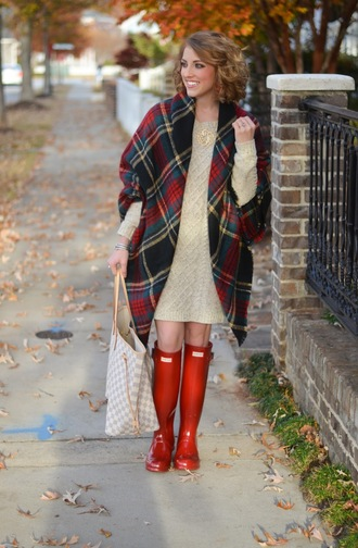 something delightful blogger sweater dress scarf shoes jewels fall outfits wellies tartan scarf tote bag knitted dress sweater dress