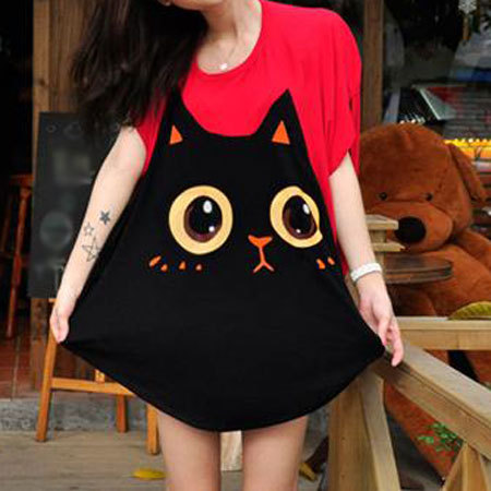 shego shopping mall — [grzxy6601713]Lovely Cat Loose Fit Batwing Short Sleeve T Shirt
