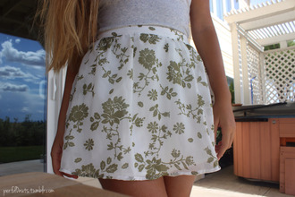 skirt floral green white green and white white and green tan floral skirt tan and white