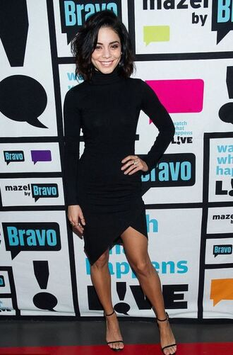 dress black dress turtleneck long sleeve dress vanessa hudgens sandals asymmetrical