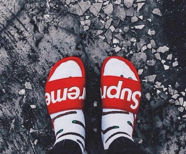 Shoes Supreme Bitch Sweater Snapback Dope Kush New Era Hood Panel Monochrome Type Slide Red