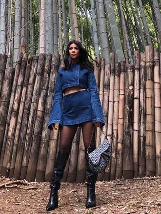 skirt denim jacket denim denim skirt kourtney kardashian kardashians crop tops instagram boots