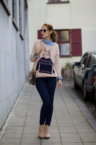from brussels with love blogger pink sweater bunny denim shirt