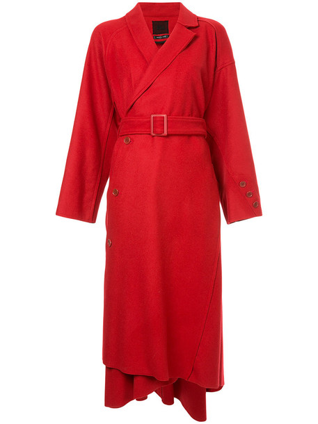 coat women wool red